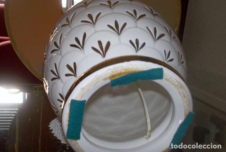 Vintage: LAMPARA SOBREMESA--PIE PORCELANA CON DORADO-PINTADA A MANO-AÑO 80 - Foto 7 - 148704586