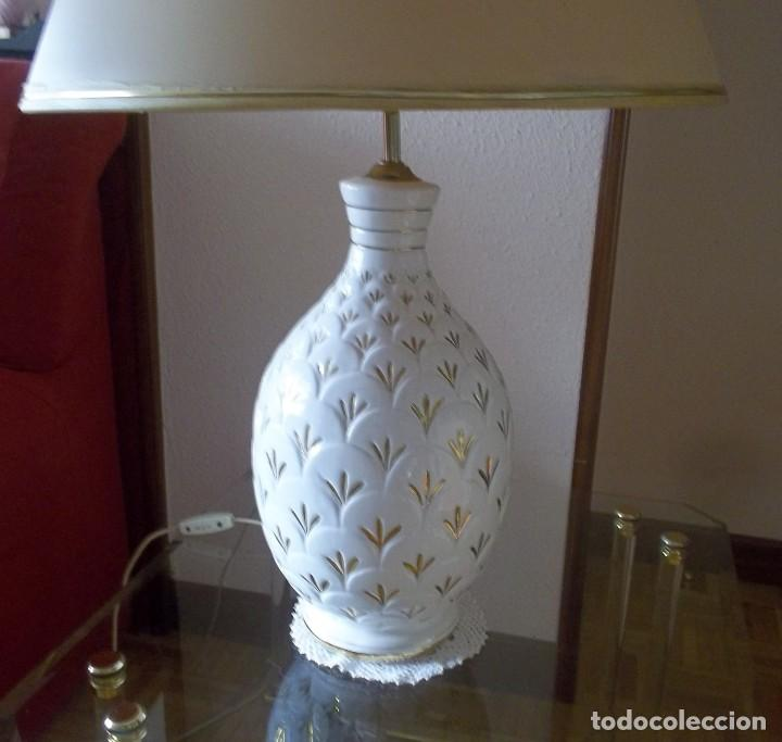 Vintage: LAMPARA SOBREMESA--PIE PORCELANA CON DORADO-PINTADA A MANO-AÑO 80 - Foto 8 - 148704586