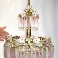 Vintage: LAMPARA VINTAGE METAL DORADO Y CRISTAL ROSA MIDCENTURY. Lote 149341614