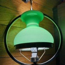 Vintage: LAMPARA VINTAGE TECHO OPALINA VERDE ORIGINAL AÑOS 60 SPACE AGE. Lote 149960290
