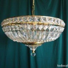 Vintage: LAMPARA TECHO VINTAGE DE COMEDOR O ENTRADA CRISTAL . Lote 149976186