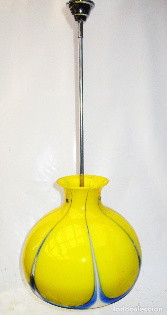 LAMPARA ORIGINAL VINTAGE CRISTAL MURANO AMARILLO POP (Vintage - Lámparas, Apliques, Candelabros y Faroles)