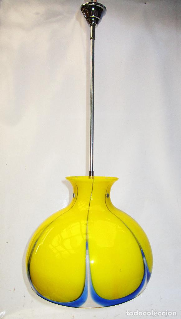 Vintage: LAMPARA ORIGINAL VINTAGE CRISTAL MURANO AMARILLO POP - Foto 3 - 151152570