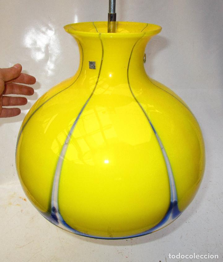 Vintage: LAMPARA ORIGINAL VINTAGE CRISTAL MURANO AMARILLO POP - Foto 5 - 151152570