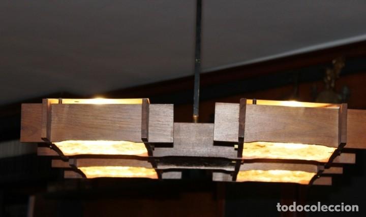 Vintage: Lámpara Nórdica de teca y cristal de murano.Estilo escandinavo. Años 50s. - Foto 13 - 152324518