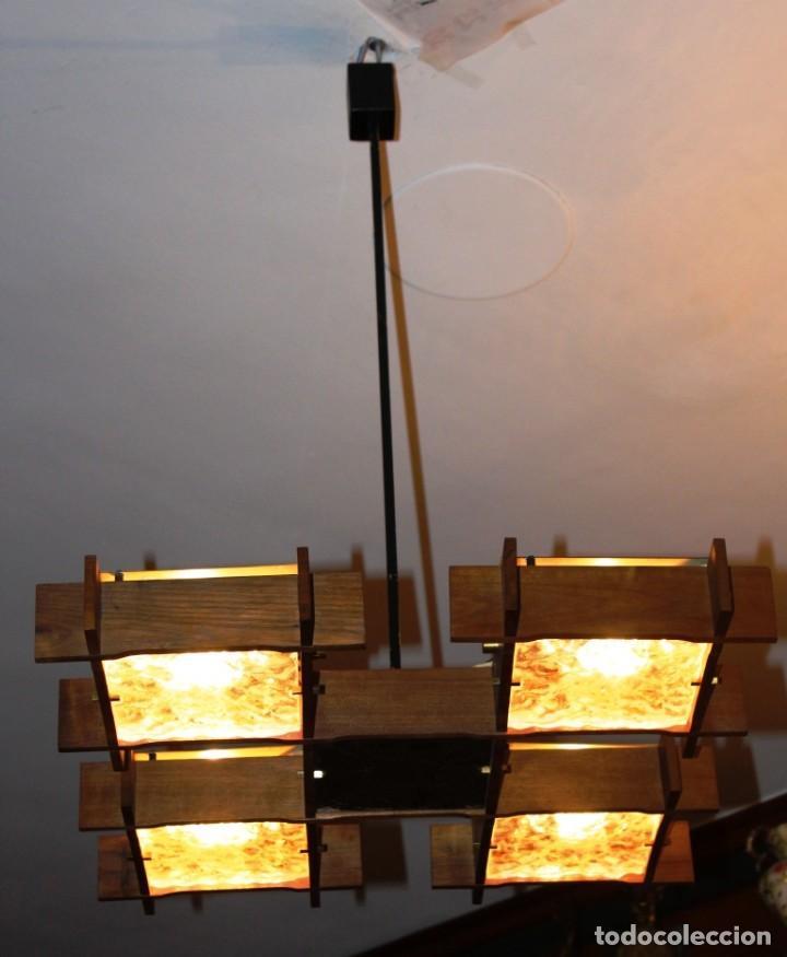 Vintage: Lámpara Nórdica de teca y cristal de murano.Estilo escandinavo. Años 50s. - Foto 15 - 152324518