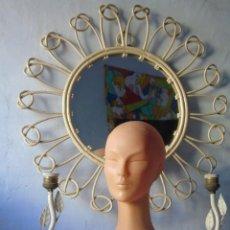 Vintage: ESPEJO SOL MIMBRE Y LAMPARAS METAL VINTAGE SUPER DECO !. Lote 152557518