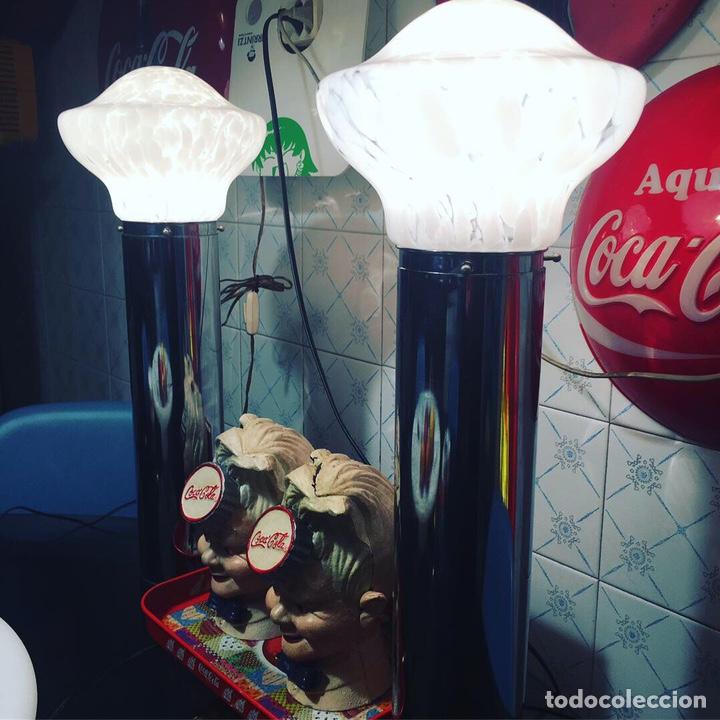 PAREJA LÁMPARAS MESA MURANO DESIGN MAZZEGA (Vintage - Lámparas, Apliques, Candelabros y Faroles)