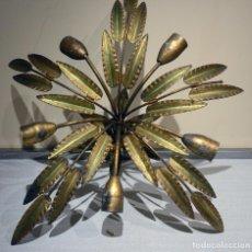 Vintage: LAMPARA DE FORJA, SOL CON 5 PALMERAS CON 5 HOJAS. Lote 153265218
