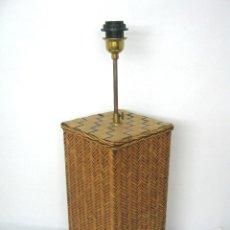 Vintage: GRAN PIE DE LAMPARA VINTAGE - MADERA CON MIMBRE - ALTURA REGULABLE - GRANDES DIMENSIONES. Lote 153498746