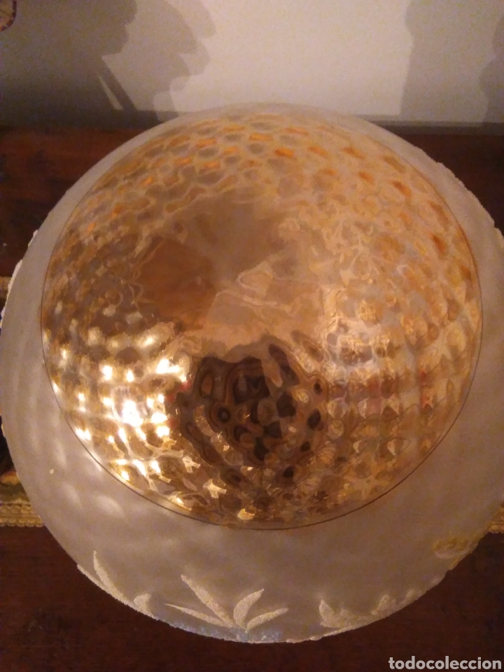 Vintage: Lampara globo Vintage con embellecedor de bronce - Foto 2 - 155875410