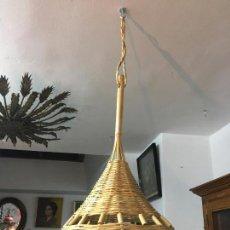Vintage: LAMPARA REALIZADA DE CAÑA A MANO CON MEDIDA TOTAL DE 84X35 CM - VINTAGE. Lote 156050042
