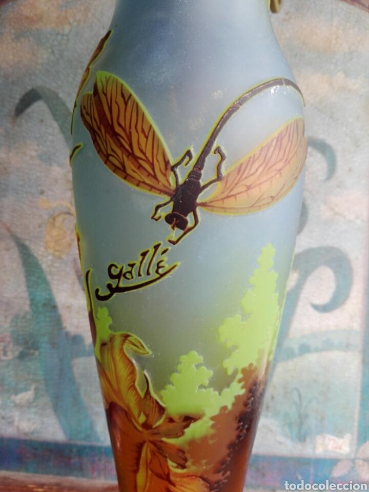 PIE DE LAMPARA DE. CRISTAL ESMALTADO REPRODUCCION DE GALLE TIP LIBELULAS (Vintage - Lámparas, Apliques, Candelabros y Faroles)