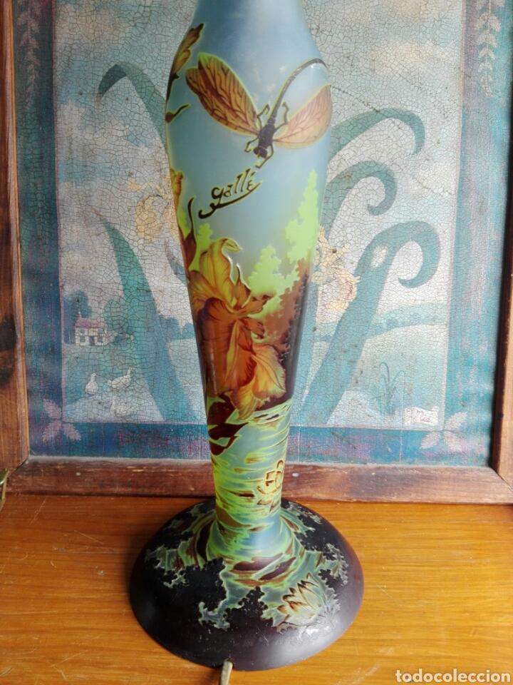 Vintage: Pie de Lampara de. Cristal esmaltado reproduccion de Galle Tip libelulas - Foto 2 - 157728438