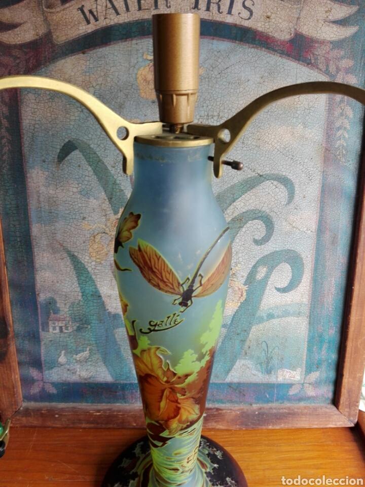 Vintage: Pie de Lampara de. Cristal esmaltado reproduccion de Galle Tip libelulas - Foto 3 - 157728438