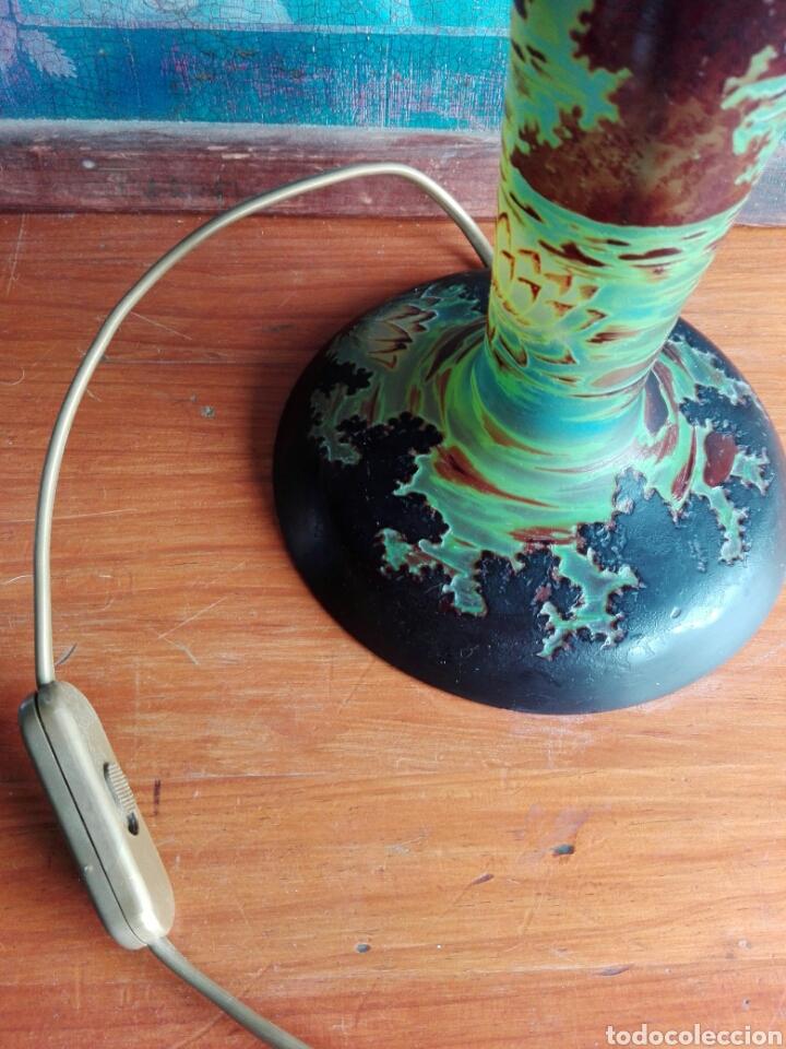 Vintage: Pie de Lampara de. Cristal esmaltado reproduccion de Galle Tip libelulas - Foto 6 - 157728438