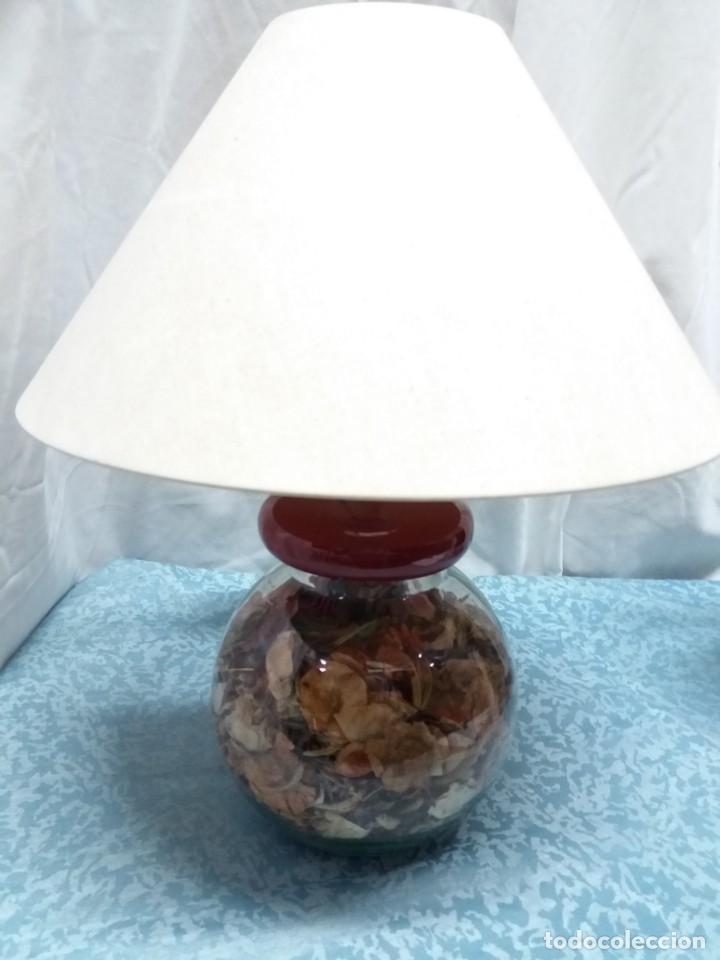 LAMPARA SOBREMESA BASE CRISTAL (Vintage - Lámparas, Apliques, Candelabros y Faroles)