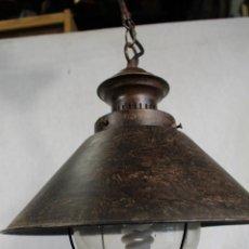 Vintage: LAMPARA DE TECHO EN METAL Y TULIPA DE CRISTAL. Lote 159611410