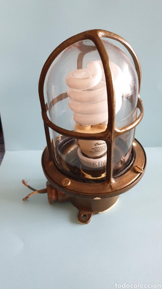 LAMPARA DE BARCO EN BRONCE. (Vintage - Lámparas, Apliques, Candelabros y Faroles)