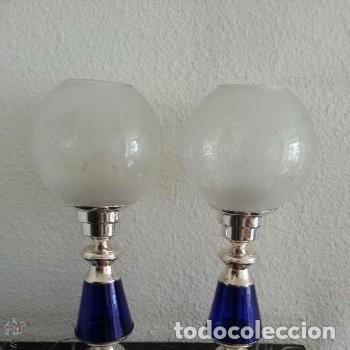 MAGNIFICAS LÁMPARAS DE ALPACA Y VIDRIO AZUL COBALTO MEDIADOS DEL SIGLO XX, AÑOS 40 (Vintage - Lámparas, Apliques, Candelabros y Faroles)