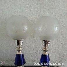 Vintage: MAGNIFICAS LÁMPARAS DE ALPACA Y VIDRIO AZUL COBALTO MEDIADOS DEL SIGLO XX, AÑOS 40 . Lote 160384966