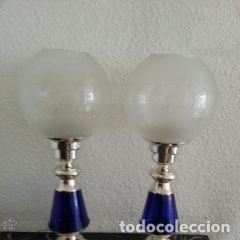 Vintage: MAGNIFICAS LÁMPARAS DE ALPACA Y VIDRIO AZUL COBALTO MEDIADOS DEL SIGLO XX, AÑOS 40 - Foto 8 - 160384966