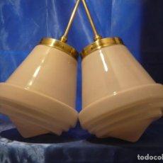 Vintage: LAMPARA COLGANTE (2 UNIDADES) CON GRAN TULIPA ART DECO. Lote 161269162