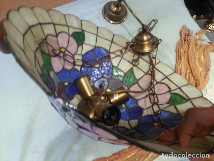 Vintage: Lámpara de techo estilo Tiffany. Años 90. Buen estado general. - Foto 7 - 161790954