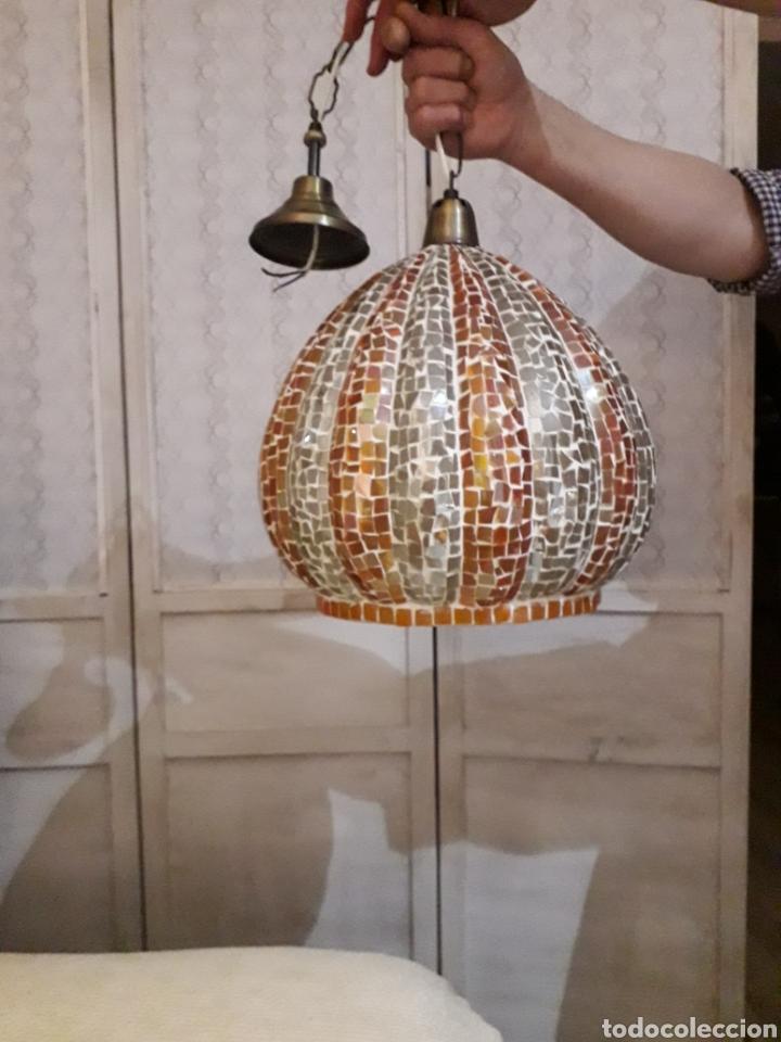 BONITA LAMPARA DE TECHO DE 35CM DIAMETRO Y 31 LARGO DE CRISTALITOS PEGADOS Y ESMERILA (Vintage - Lámparas, Apliques, Candelabros y Faroles)
