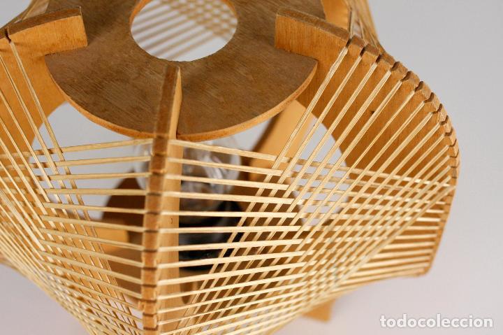 Vintage: lampara sobremesa madera rafia estilo nordico años 70 vintage - Foto 2 - 162285030