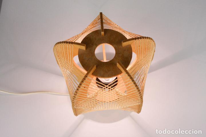 Vintage: lampara sobremesa madera rafia estilo nordico años 70 vintage - Foto 4 - 162285030