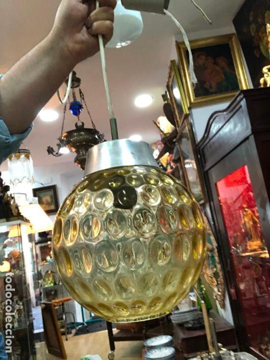 Vintage: PRECIOSA LAMPARA CON GRAN TULIPA DE CRISTAL CON MEDIDA 24X22 CM - VINTAGE - Foto 5 - 162668354