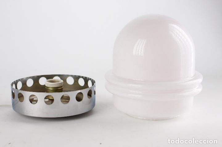 Vintage: lámpara sobremesa metal cromado opalina space age vintage retro 70s - Foto 3 - 163713250