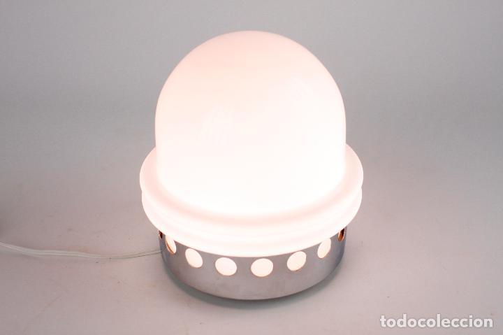 Vintage: lámpara sobremesa metal cromado opalina space age vintage retro 70s - Foto 4 - 163713250