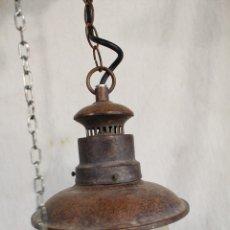 Vintage: LAMPARA DE TECHO FAROL EN METAL Y CRISTAL. Lote 164645530