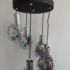 Vintage: LAMPARA VINTAGE SPACEAGE POP DE TECHO EN CROMADO. Lote 164803706