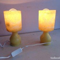 Vintage: PAREJA DE 2 ANTIGUAS AÑOS 60 RETRO VINAGE LAMPARAS DE ALABASTRO TALLADO, COMPLETAS Y FUNCIONANDO BUE. Lote 165304438