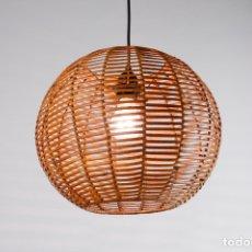 Vintage: LAMPARA TECHO MADERA MIMBRE ESTILO NORDICO AÑOS 70 VINTAGE. Lote 165455558