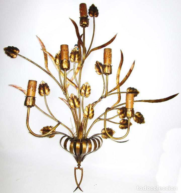 SUPER LAMPARA APLIQUE 100X105CM!!!!!! HIERRO FORJA DORADA REGENCY AÑOS 50 (Vintage - Lámparas, Apliques, Candelabros y Faroles)