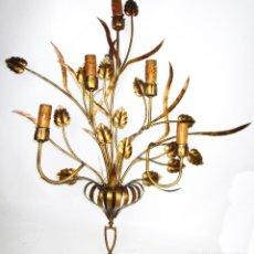 Vintage: SUPER LAMPARA APLIQUE 100X105CM!!!!!! HIERRO FORJA DORADA REGENCY AÑOS 50 . Lote 165729498