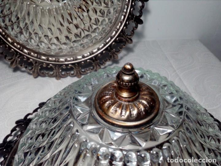 Vintage: PAREJA DE LÁMPARAS PLAFÓN TIPO SOL DE TECHO VINTAGE AÑOS 60 (METAL Y CRISTAL ESTRELLADO) - Foto 8 - 165801638