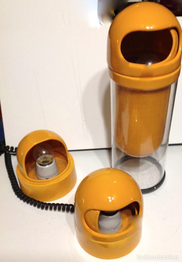 Vintage: Lámparas Art Decó Años 60 -70 Diseño Color Naranja Sobremesa Tres Diseño - Foto 2 - 166413434