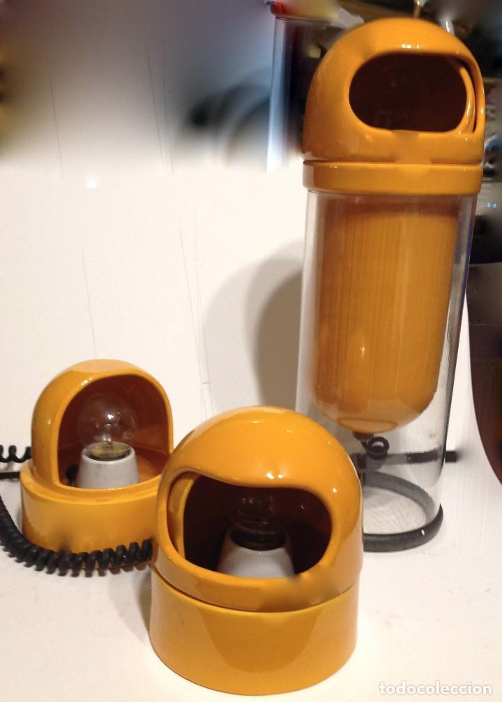 Vintage: Lámparas Art Decó Años 60 -70 Diseño Color Naranja Sobremesa Tres Diseño - Foto 3 - 166413434