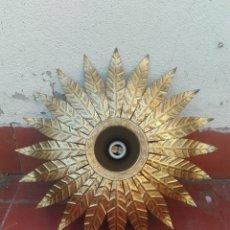Vintage: LAMPARA SOL VINTAGE APLIQUE PLAFON TECHO PARED HOJAS DORADO. Lote 166691866