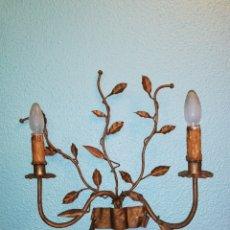Vintage: LAMPARA ANTIGUA RAMAS Y HOJAS FORJA DORADA MID CENTURY ESTILO FERRO ARTE VINTAGE AÑOS 60. Lote 167013273