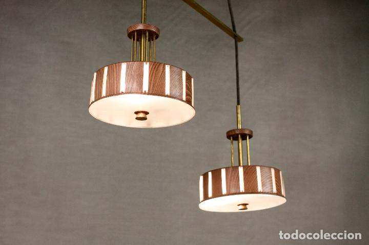 techo doble madera latón 70's lampara vintage estilo nordico retro strhQd