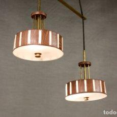 Vintage: LAMPARA TECHO DOBLE ESTILO NORDICO VINTAGE MADERA LATÓN 70'S RETRO. Lote 168022820