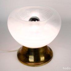 Vintage: LAMPARA SOBREMESA LATÓN CRISTAL MURANO VINTAGE RETRO SPACE AGE AÑOS 70. Lote 168023180