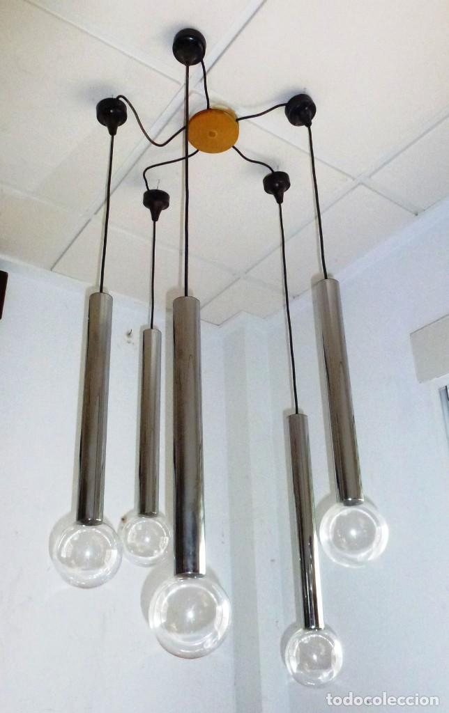 LAMPARA DE TECHO,COLGANTE DE CASCADA.STAFF - SPACE.AÑOS 70. (Vintage - Lámparas, Apliques, Candelabros y Faroles)