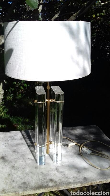 Vintage: LAMPARA DE SOBREMESA DE METACRILATO Y METAL DORADO - AÑOS 70-80 - Foto 12 - 168639450